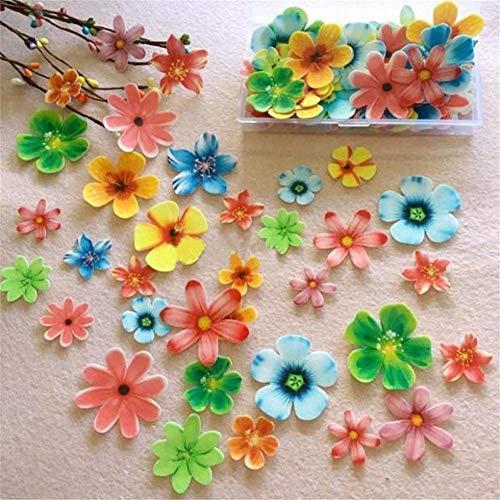 BerryChips 100 piezas de decoración de tartas con forma de flor de mariposa, comestible, papel de arroz, oblea de papel de arroz, decoración de postre, fiesta de cumpleaños, boda, baby shower