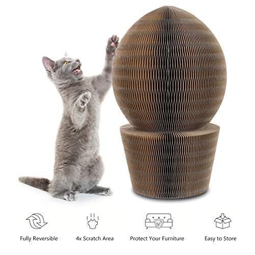YOUTHINK Rascador de CartóN para Gatos, Cama Plegable de ArañAzos para Gatos Corrugados, CartóN Funcional para Rascar con Campana de Juguete y Hierba Gatera para Gatos