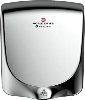 World Dryer Q-972A VERDEdri Commericial Hi-Speed Quick-Dry Surface-Mounted ADA Compliant Hand Dryer, Stainless Steel Cover Polished, Universal Voltage 110-240V