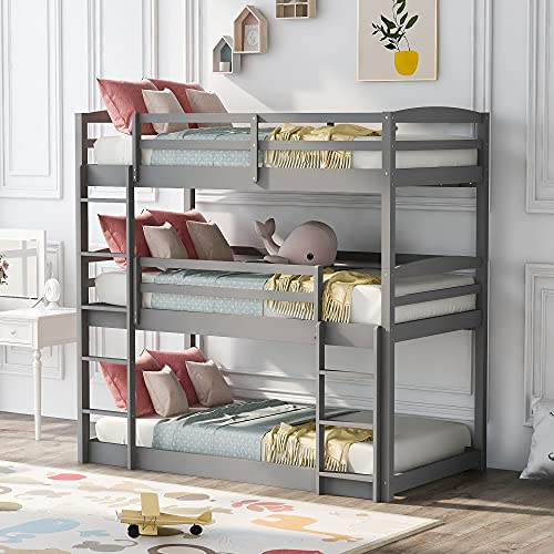 Harper & Bright Designs Wood Triple Bunk Beds