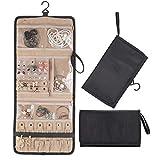 Lenlorry Travel Jewelry Organizer Roll Bag Case, Hanging Jewelry Organizers Holder with Zipper...