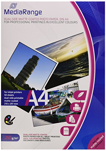 MediaRange DIN A4 Fotopapier für Tintenstrahldrucker, beidseitig matt, 250g, 50 Blatt