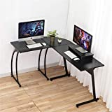 Computer Desk, DOSLEEPS L-Shaped Large Corner PC Laptop Study Table Workstation Gaming Desk for Home and Office - Free Monitor Stand - Wood & Metal - Black Wood Grain