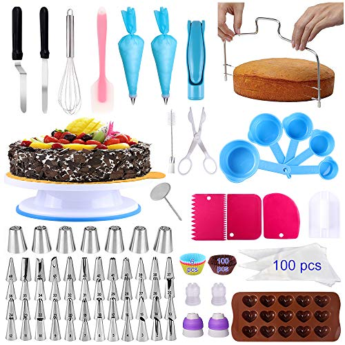 Cake Decorating Supplies 283 PCS KAMIDA Cake Decorating Tools with Rotating Turntable Stand, Leveler, Icing Tips,Disposable Bags,Chocolate Mold, Cake Decorating Kits for Beginners and Pro Cake Lovers