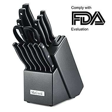 McCook MC39 14 Pieces FDA Certified Full Tang Triple Rivet Kitchen Knife Set in Hard Wood Block with Built-in Sharpener and Kitchen Scissor(Graphite Block)