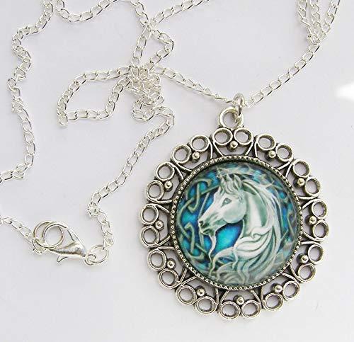 Unicornio, colgante de cuentas de cristal en cadena de 45,7 cm, hecho a mano, arte y...