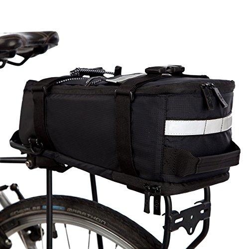BTR Deluxe Fahrradtasche Gepäckträger Tasche Wasserdicht und reflektierender Schutzhülle – Schwarz –mit Integriertem Schultergurt, Reflektoren. Recycelbare Verpackung