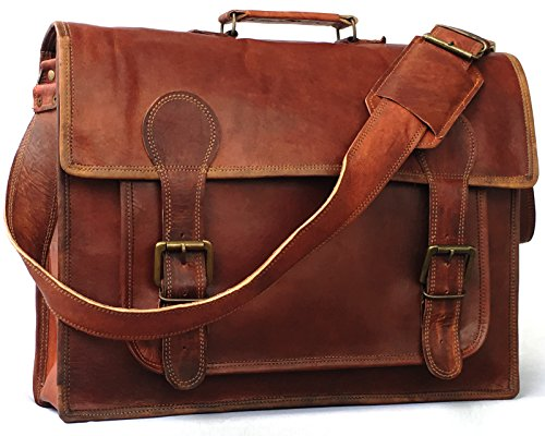 18 Inch Vintage Handmade Leather Travel Messenger Office Crossbody Bag Laptop Briefcase Computer College Satchel Bag For Men And Women