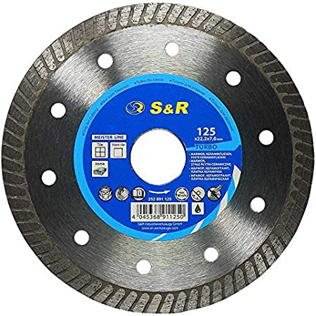 S&R Disco Diamantado amoladora 125 mm para Porcelanico Cerámica Azulejos Mármol Granito,