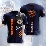 Xiaolimou NFL 2021 Chicago Bears T-Shirt À Manches Courtes Retro Memorial Rugby Training T-Shirt Hommes, Ultra-Mince Et Respirant, Lavable en Machine, Ne Se Décolore Pas,Bleu,L