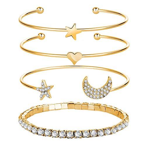 CLEARNICE 4 Piezas/Pulseras de corazón brazaletes para Mujer Brazalete de joyería de Tendencia Amor Pulsera Abierta diámetro 6,6 cm
