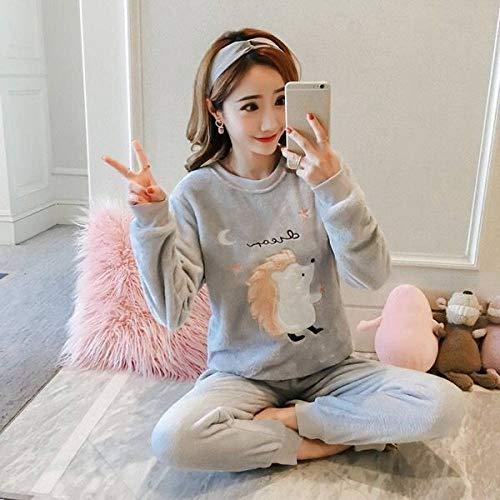 Conjunto Pijama Mujer,Invierno Cálido Suave Grueso Cómodo Mujer Gris Ropa De Dormir Lindo Erizo Franela Mangas Largas Cuello Redondo Ropa De Salón, M