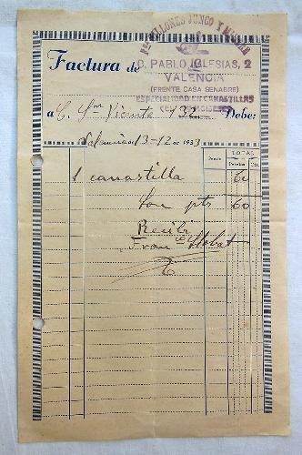 Documento - Document : FACTURA DE FABRICA SILLONES JUNCO Y MIMBRE. 1933. Valencia