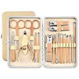 Bihuo Professional Manicure Set, 18 Pieces Pedicure Kit Nail Clipper Set with Case Travel for Men Women Teens for Facial, Nose, Ear, Fingernail and Toe Cuticle Grooming Care (Rose Gold)