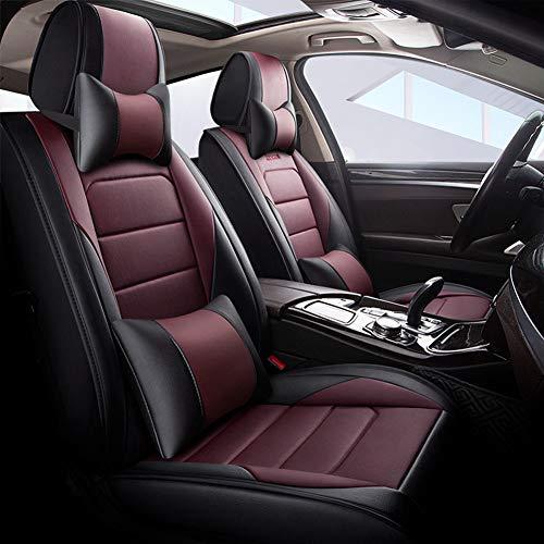 YSDS-JZ Coprisedile universale protegge in pelle PU impermeabile cintura di lusso con lombare e poggiatesta per la maggior parte dei veicoli a 5...