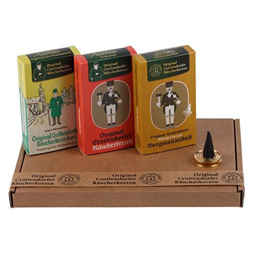 Crottendorfer Räucherkerzen - Nostalgie Düfte Weihrauch, Bergmannsduft und Erzgebirgischer Weihnachtsduft - in Geschenkverpackung mit Messingschale (3 x 24 Stück)