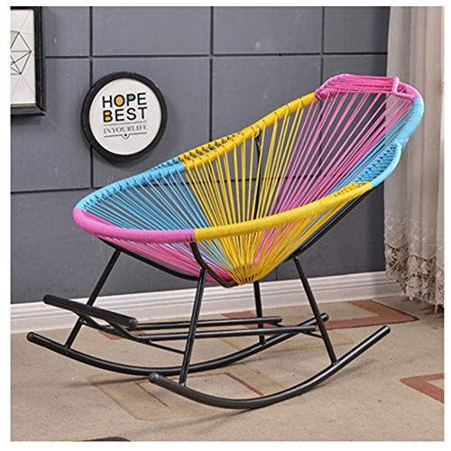 Garden Rattan Rocking Chair - Beach Relax with footrest Sun lounger deckchair loadable up to 150 kg for weatherproof garden furniture patio pool reclining deck chairs garden lounger,colored