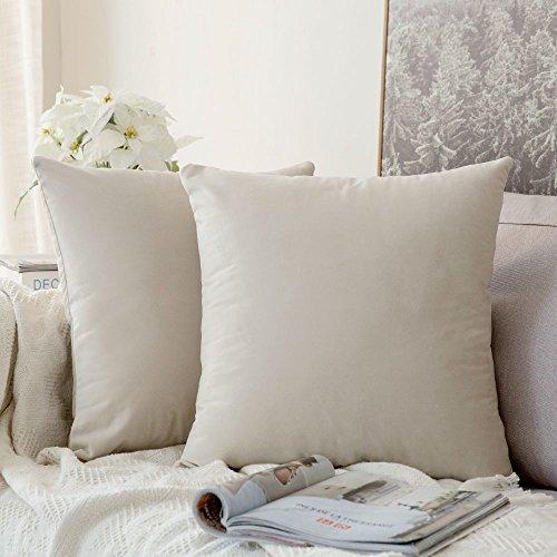 MIULEE Confezione da 2 Federe in Velluto Copricuscini Decorativi Fodere Quadrate per Cuscino per Divano Camera da Letto Casa50X50cm Bianco Crema