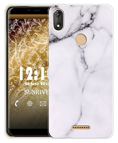 Sunrive Für Wiko View Max Hülle Silikon, Transparent Handyhülle Schutzhülle Etui Hülle für Wiko View Max 5,99 Zoll(TPU Marmor Weißer)+Gratis Universal Eingabestift