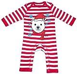 HARIZ Baby Strampler Streifen Eisbär Schal Mütze Süß Tiere Dschungel Plus Geschenkkarten Feuerwehr Rot/Washed Weiß 3-6 Monate