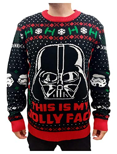 Star Wars Darth Vader Stormtroopers Ugly Christmas Sweater Jolly Face Sweater Small...