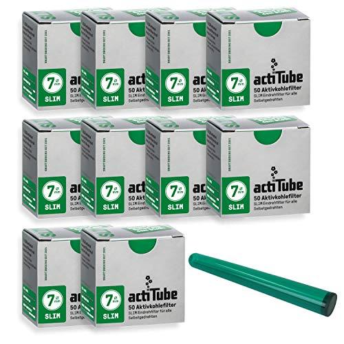 actiTube Slim-7mm-Aktivkohlefilter 10 x 50er Schachtel Filter Plus kostenlose Jointhülle, Silber, 10x50 (500)