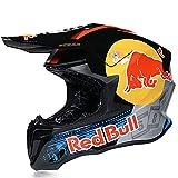 Cascos De Motocross,CertificacióN Dot/ECE Profesional Anti Niebla Protección UV Casco Protector de Color Motocross Clásico Mujer Hombre Red Bull A,S=53~54cm