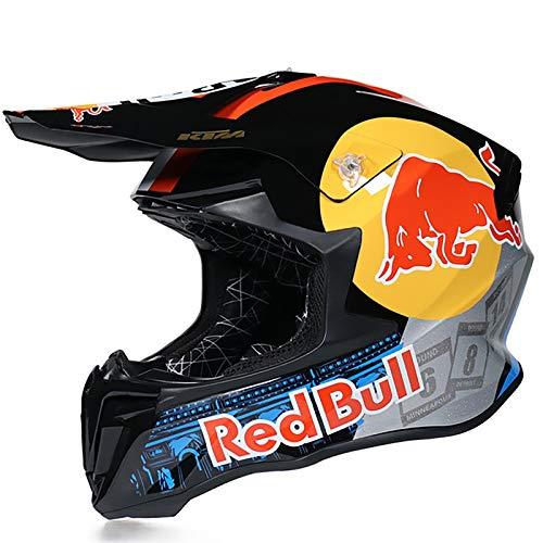 HZIH Casco Moto,Caschi integrali Casco da Motocross Certificazione DOT/CE Locomotiva da Uomo Mountain Racing Ciclismo in Discesa Casco Integrale Occhiali Red Bull B,M=55~56cm