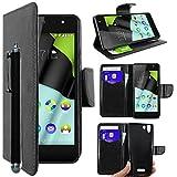 ebestStar - kompatibel mit Wiko Selfy 4G Hülle Kunstleder Wallet Case Handyhülle [PU Leder], Kartenfächern, Standfunktion + Stift, Schwarz [: 141 x 68.4 x 7.7mm, 4.8'']