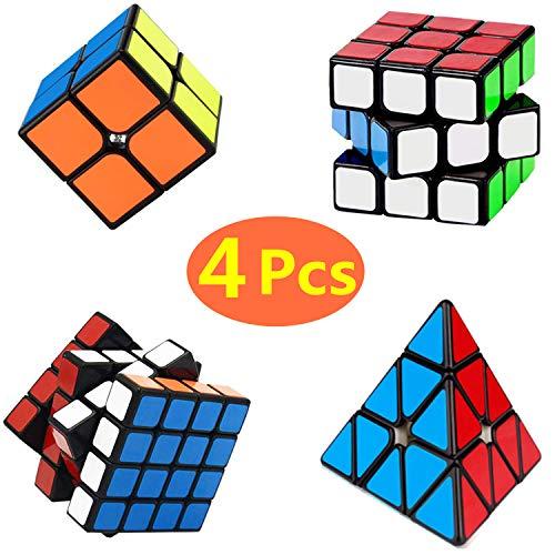 Yetech 4PCS Cubo Mágico Puzzle Pack - Speed Cubo Magic Puzzle Cube 2x2 3x3 4x4 Pyramid Cubo de Regalo Set para Juegos Rompecabezas y Regalo Festivo