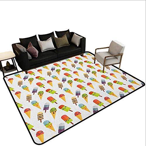 Vierkant tapijt IJs, Wafel Chocolade Smaak Dessert Heerlijke Yummy Backdrop Stijlvolle Grafische, Donker Bruin Mosterd