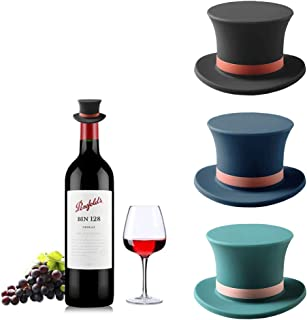 Wine Stopper, Joso 3 Pack Silicone Bottle Caps, Reusable Rubber Wine Bottle Stoppers, Gentleman Hat Reseal Beer Saver for ...