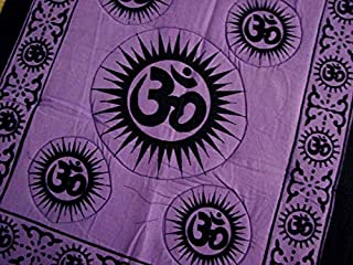 4Rissa Purple Violet Om Symbol Yoga Meditation Asana Pilates Comfy Cushioned Cotton Mat Fitness