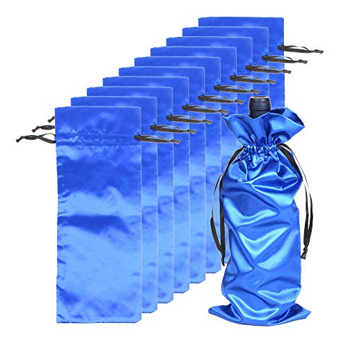 10pcs Satin Red Wine Bags with Drawstrings,Perfect for Travel, Wedding, Birthday, Housewarming and Dinner Party Gift Giving(15'*6'), Blue color