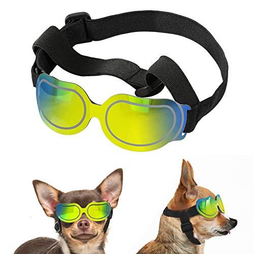 Lewondr Gafas de Sol Reflectantes Geniales para Mascotas, Anteojos Anti-Ultravioleta Niebla y Polvo con Correa Ajustable, Gafas Protectoras para Perros Pequeños para Fiesta Playa Viajar, Colorido