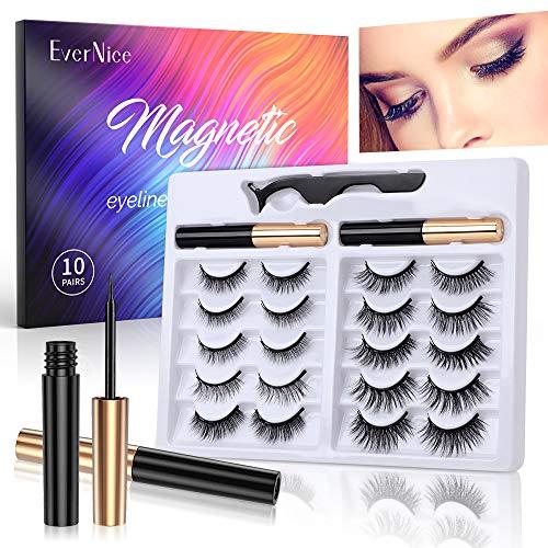 Magnetic Eyelashes with Eyeliner,10 Pairs Magnetic Lashes Set with 2 Eyeliner and Tweezers, All Day Long Lasting, Easier To Use Than Glue Fake Eyelashes