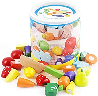 SKEIDO Kids Wooden Fruit Cutting Toys Cutting Fruit And Vegetables Set For Kids 0036
