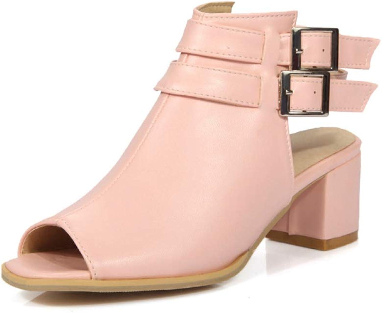 JOYBI Women Peep Toe Sandal Rome Buckle Faux Leather Comfy Slingback Non Slip Chunky Thick Heels Sandals