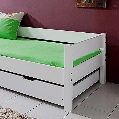 Kinderbett mit Gästebett Weiß Bettkasten Nein Pharao24 - 5