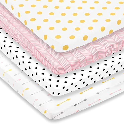 Lot de 3 draps de jeu - Lot de 3 draps de jeu - 100 % jersey super doux en coton - Drap de jeu portable - Draps de parc - Mini draps de lit pour fille (24 x 38 x 5)