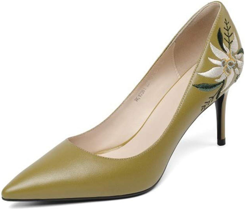 Sandalen Europische Und Amerikanische Damen Leder 7.5Cm Mode Spitze Blaume Flachen Mund Mode Schuhe Mit Hohen Abstzen