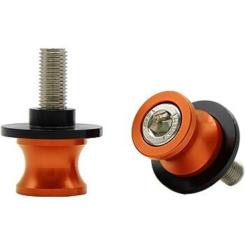 Shiwaki 2 Stk M8 Schwingen Spulen Schieber Ständerschrauben Motorrad Universal Ständeraufnahme Schrauben Orange Auto