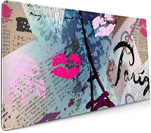 Large Gaming Mouse Pad Retro Scrapbook Collage Paris Non-Slip Rubber Thicken 3 Mm Keyboard Mouse Mat Mousepad 40 x 75 cm