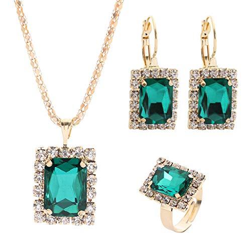 Yowablo Halskette Ohrring Ring Set Kristall Vintage Anhänger Schmuck dreiteiliges Set (Grün)