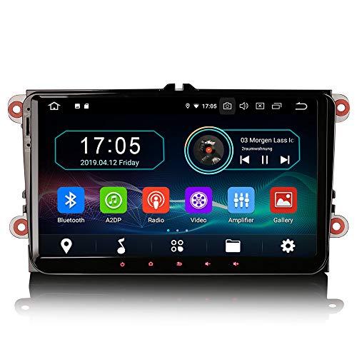 Erisin 9 Zoll Android 9.0 Autoradio für VW Passat Golf Jetta Caddy Tiguan SEAT Leon Skoda mit Navi Unterstützt Bluetooth WiFi 4G DAB+ Lenkradfernbedienung OPS Mirror Link OBD 2GB+16GB