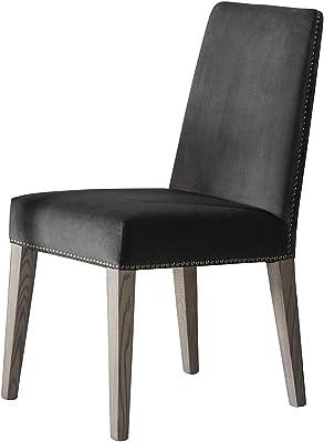 Frank Hudson Rex Dining Chair 2 Pieces Set, Mouse Velvet