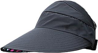 Plus Nao(プラスナオ) 帽子 ハット サンバイザー UVカット つば広帽子 日よけ 日焼け防止 お花モチーフ シンプルカラー レディース 折り畳