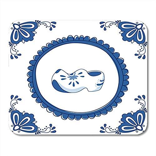 Alfombrilla de ratón para Juegos Azulejo Azul de Delft con un par de Zuecos Alfombrilla de ratón Antideslizante de Oficina típica Holandesa de 25X30 cm