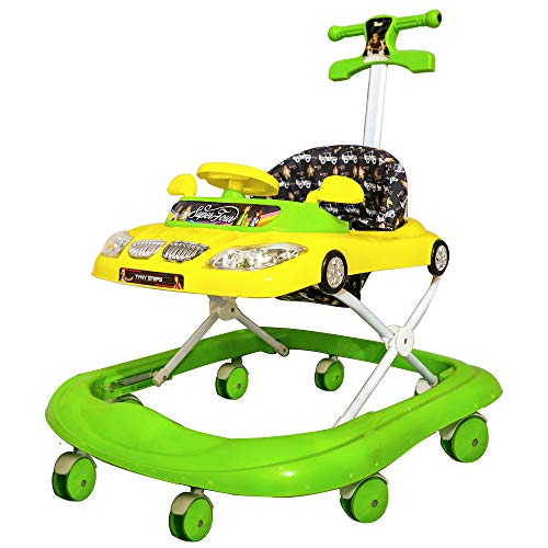 Steelbird Toddler Kids Walker with Toy and Music System, Adjustable Height and Soft Fabric 6 Months and Above (Green Walker )