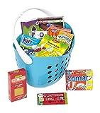 Polly Kaufladen Zubehör Set Blau Einkaufskorb gefüllt mit Miniaturen | Kinder Spielzeug für den Kaufmannsladen | Kinderkaufladen